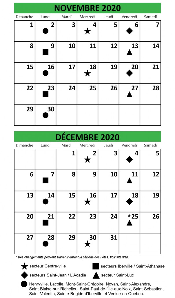 calendriers nov-dec 2020